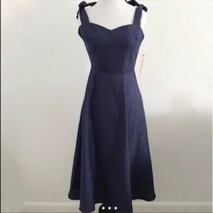Reformation Montclair navy linen backless dress